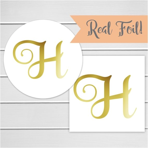 Initial Stickers for Wedding Invitations Initial Invitation Seal Gold Foil Wedding Invitation Sticker