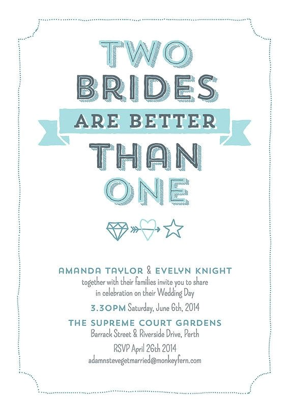 Lesbian Wedding Invitation Wording Two Brides are Better Than One Digital Personalized Print