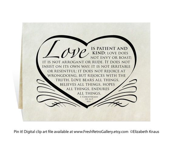 Love is Patient Love is Kind Wedding Invitations Wedding Card Program Invitation Love is Patient and