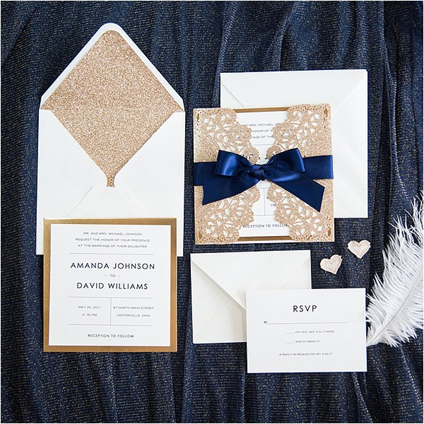 Navy Blue and Rose Gold Wedding Invitations Elegant Rose Gold and Navy Blue Glitter Wedding