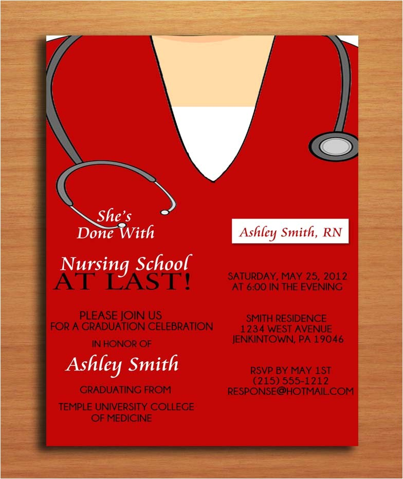 Nursing Graduation Party Invitations Card Scrub top Nursing Medical Degree by Sapphiredigitalworks