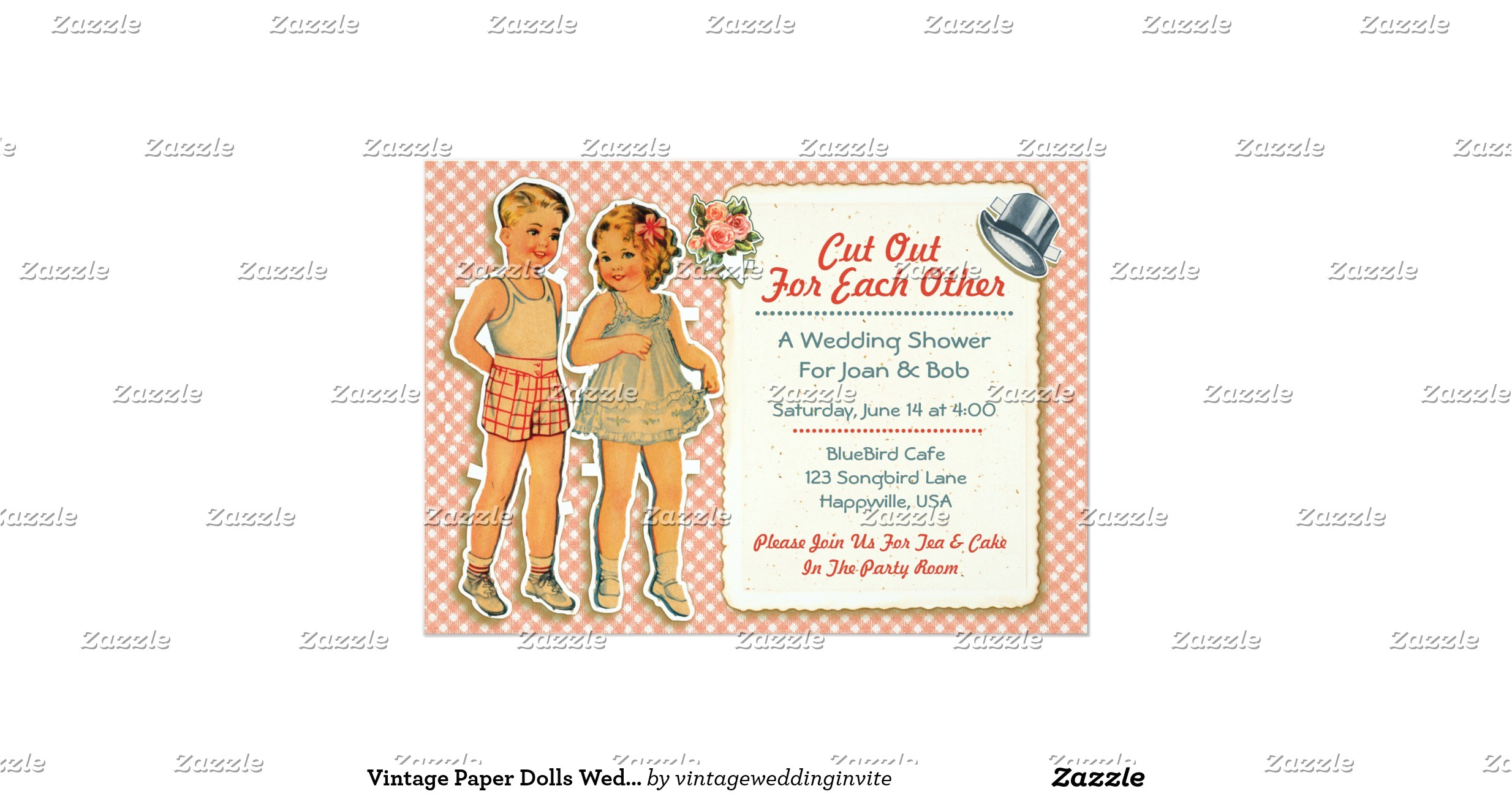 Paper Dolls Wedding Invitations Vintage Paper Dolls Wedding Shower Invites Pink