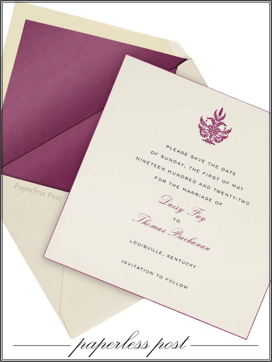 Paperless Post Free Wedding Invitations Cream and Purple Paperless Post Wedding Invitation Set