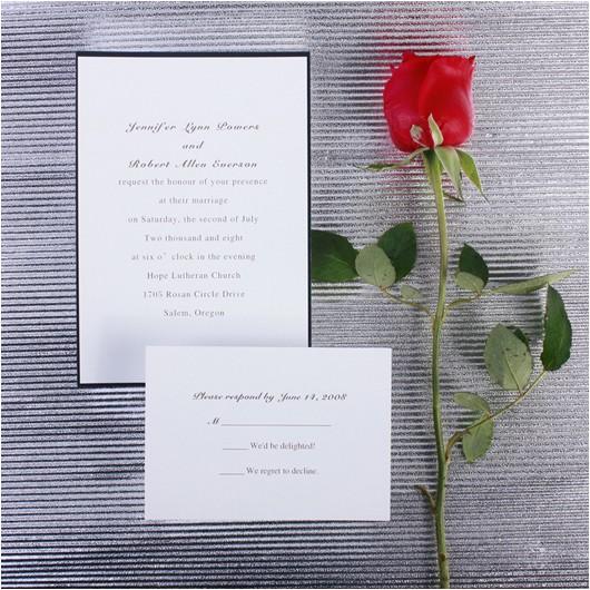 Plain White Wedding Invitations Printable Classic Black and White Wedding Cards Ewi104 as