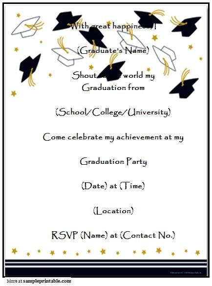 Printed Graduation Party Invitations Homemade Graduation Party Invitation Printable Homemade