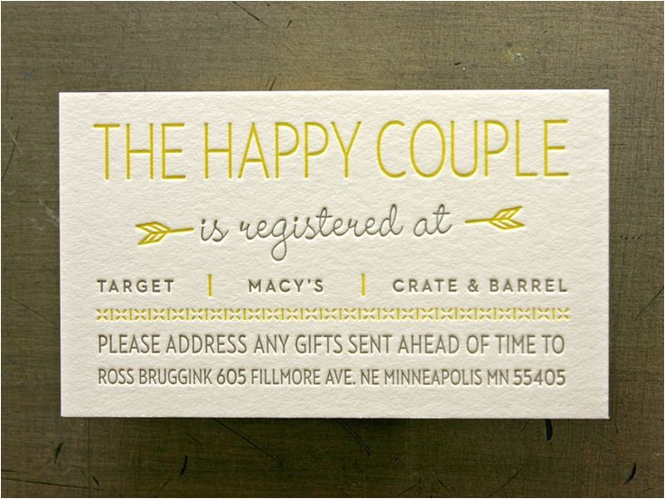 Registry Inserts for Wedding Invitations Registry Cards for Wedding Etiquettes to Follow