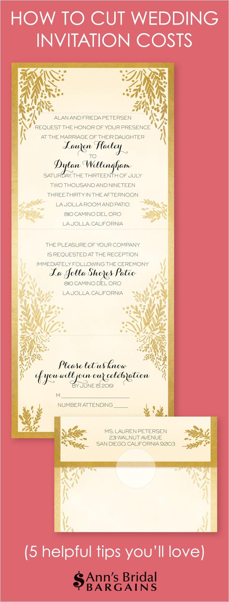 Wedding Invitation Costs How to Cut Wedding Invitation Costs Ann 39 S Bridal Bargains