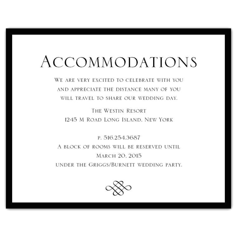 Wording for Hotel Information On Wedding Invitations Wedding Invitation Accommodation Card Wording