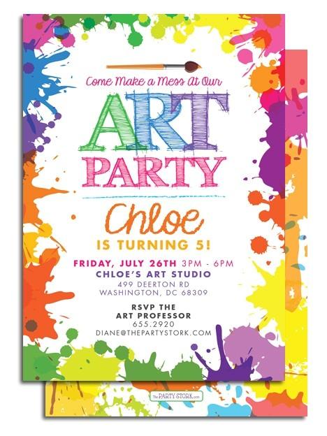 Art themed Birthday Party Invitations Art themed Birthday Party Invitations Drevio Invitations