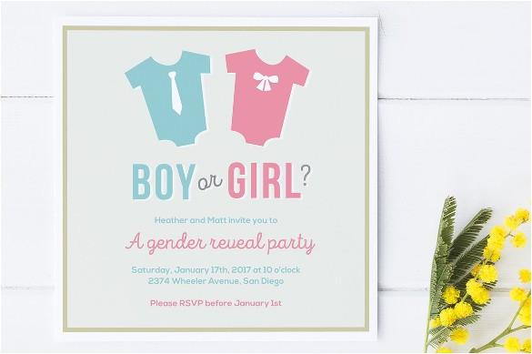 Baby Reveal Party Invitation Templates 36 Gender Reveal Invitation Template Free Premium