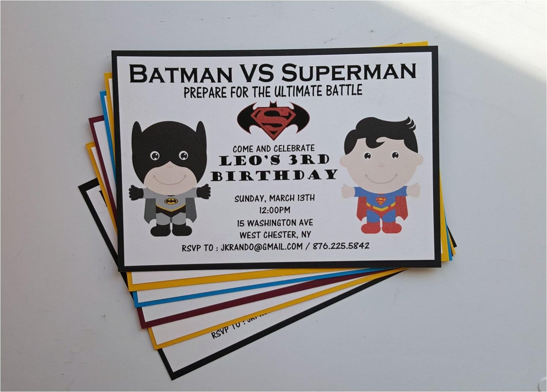Batman Vs Superman Party Invitations Batman Vs Superman Birthday Party by 1stimpressioninvites