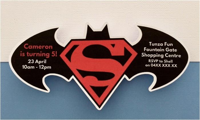Batman Vs Superman Party Invitations Personalised Batman Vs Superman Birthday Party Invitation