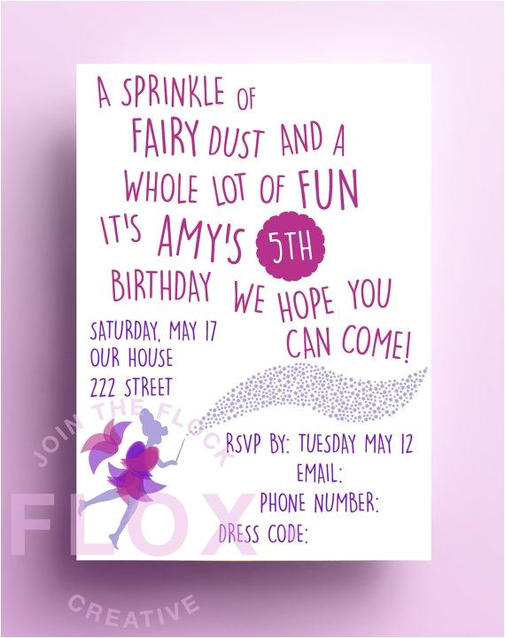 Birthday Party Poems for Invitations Fairy Birthday Party Invitation Download Pdf Personalised