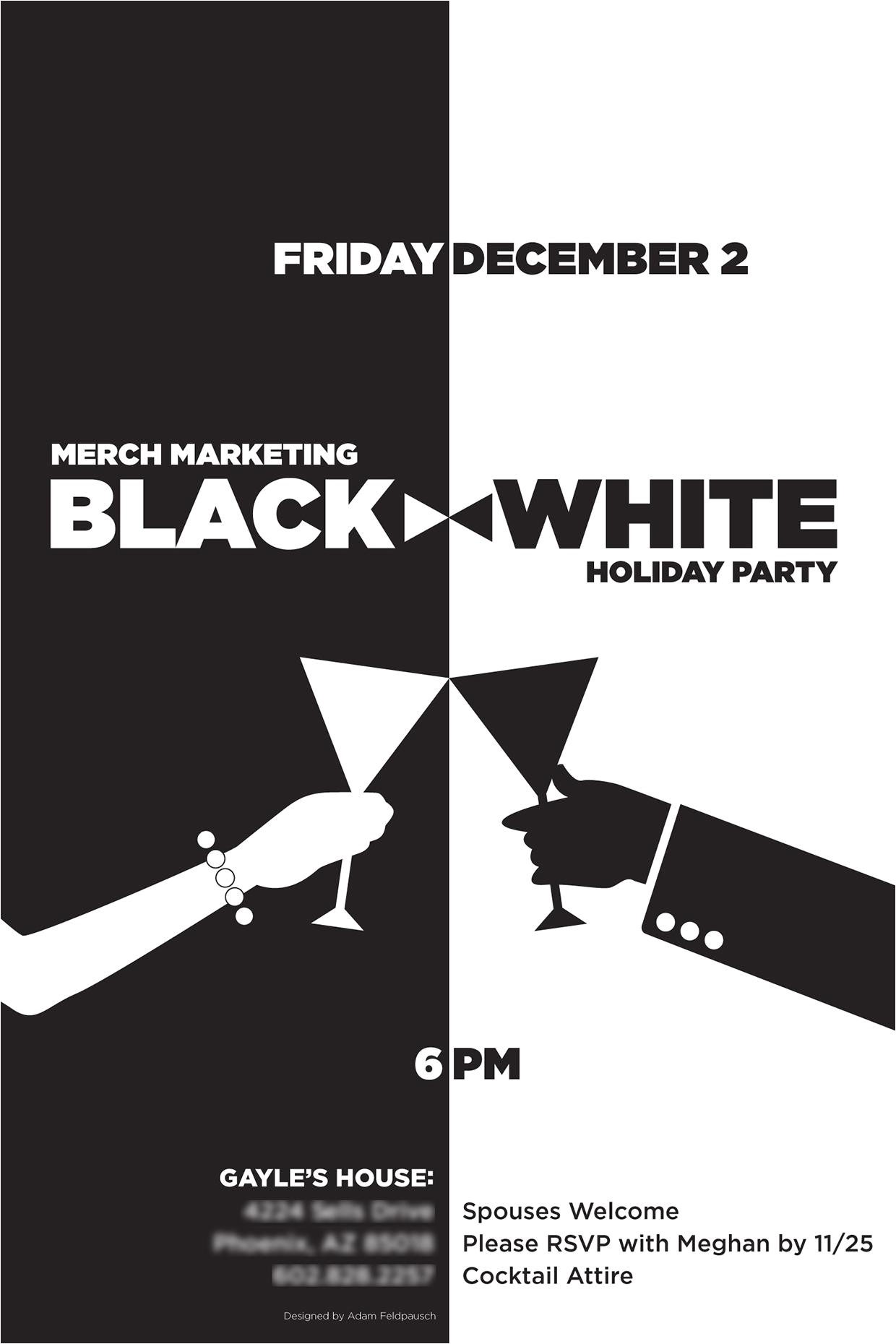 Black and White Christmas Party Invitations Black and White Party Invitations Party Invitations