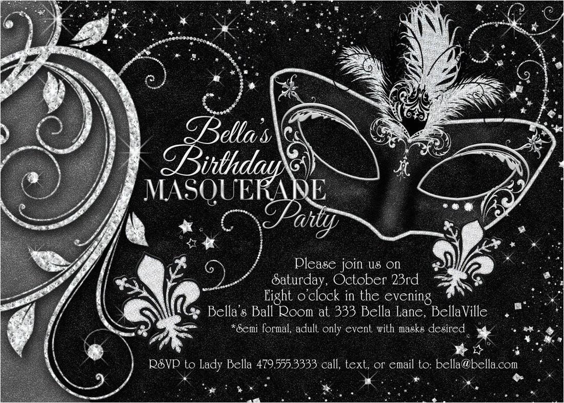 Black and White Masquerade Party Invitations Black White Masquerade Ball Invitation Mardi Gras Invitation