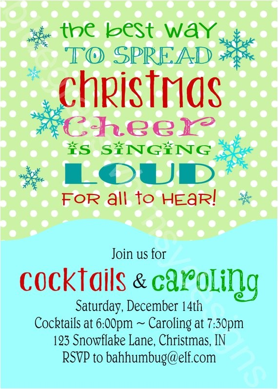 Christmas Caroling Party Invitations Buddy the Elf Quote Cocktails Caroling Printable Holiday