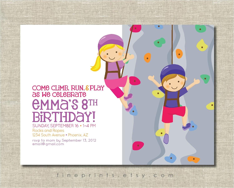 Climbing Wall Party Invitations Rock Wall Climbing Party Invitation