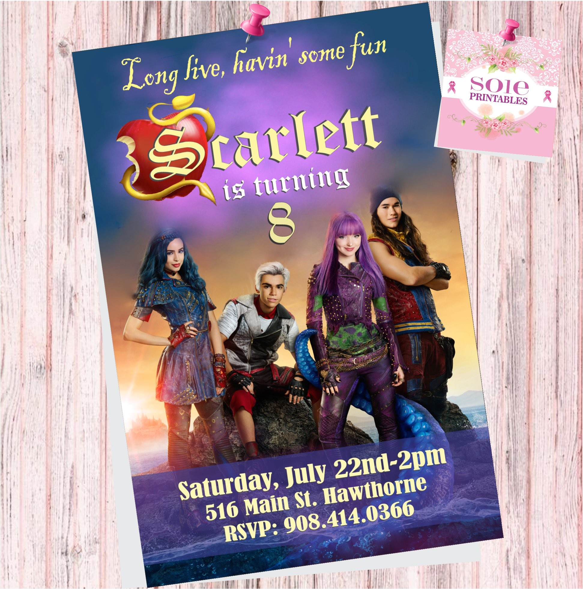 Descendants Party Invitations Printable Free Descendants 2 theme Invitation Card