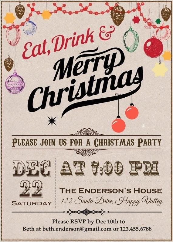 Etsy Christmas Party Invitations Christmas Party Invitation Vintage Listmachinepro Com
