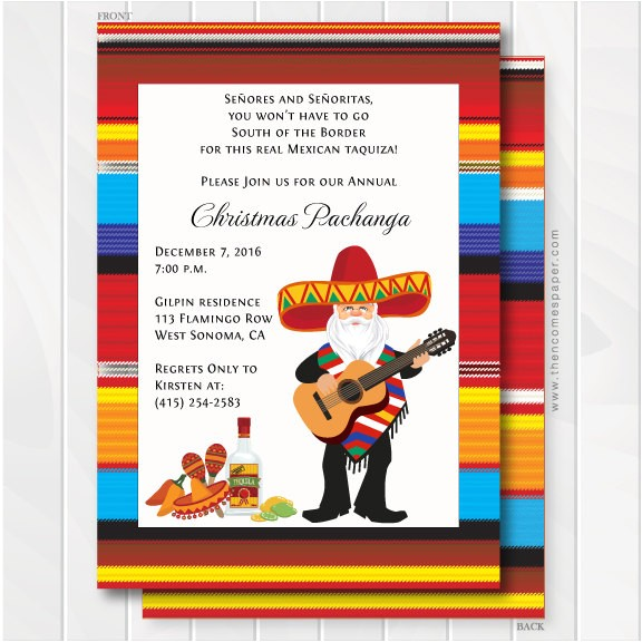 Fiesta Christmas Party Invitations Mexican Zarape and Mariachi Santa Christmas Holiday Party