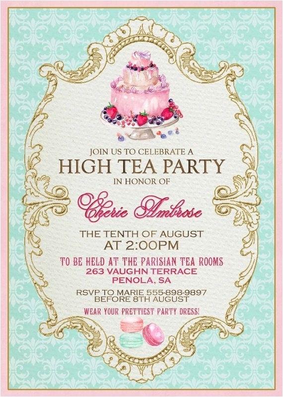 Formal Tea Party Invitation formal Tea Party Invitation Cobypic Com