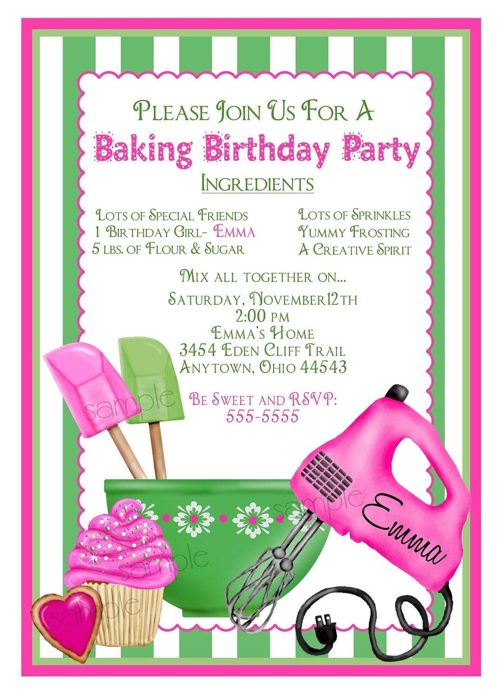 Free Baking Party Invitation Templates Baking Birthday Party Invitations Preppy Baking Kitchen