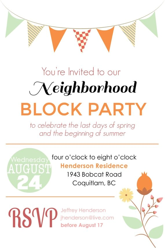 Free Block Party Invitation Template Items Similar to Summer Block Party Backyard Bbq