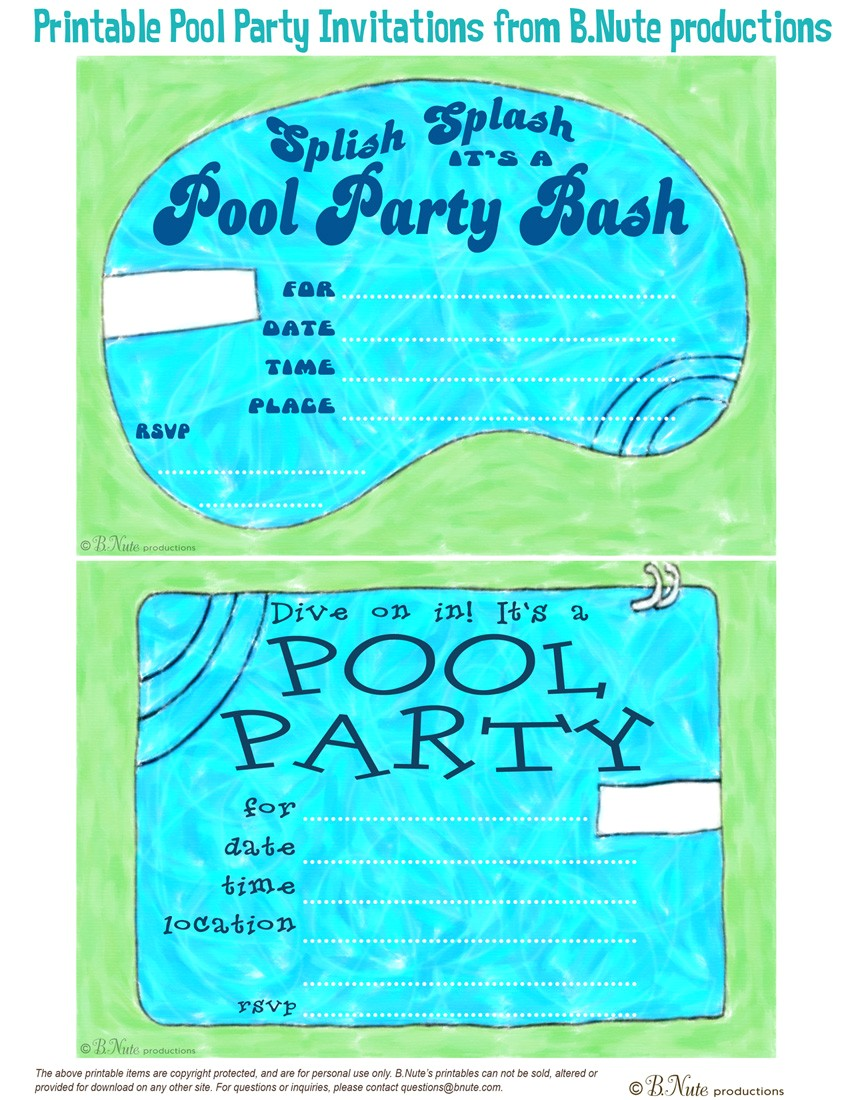 Free Printable Pool Party Invites Bnute Productions Free Printable Pool Party Invitations