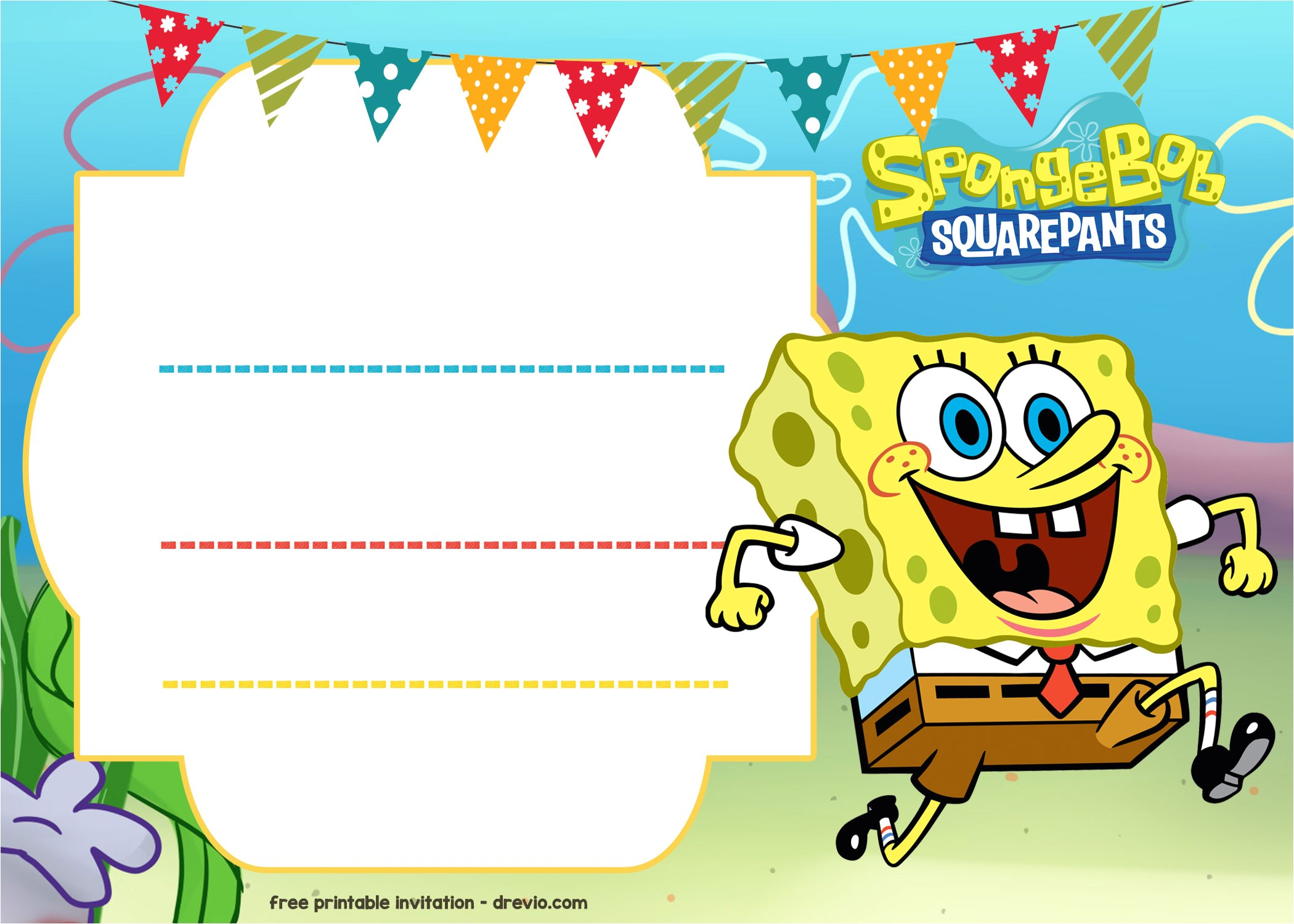 Free Spongebob Party Invitation Templates Free Spongebob Birthday Invitation Template Free