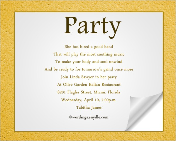 Invitation Language Party Adult Party Invitation Wording Wordings and Messages