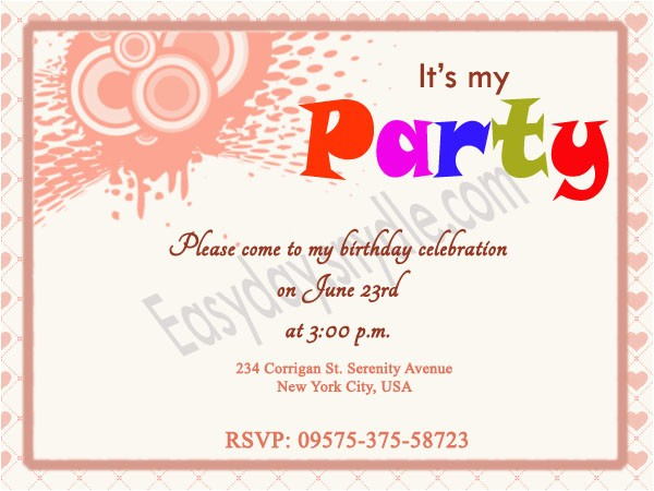 Invite to Birthday Party Wording Birthday Invitation Wording Easyday
