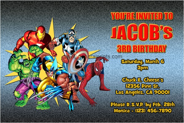 Marvel Party Invitation Template Free Marvel Superhero Invitations General Prints