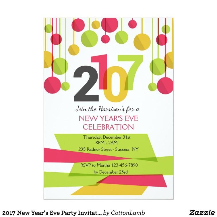 New Year Party Invitation 2017 2017 New Year 39 S Eve Party Invitation Zazzle