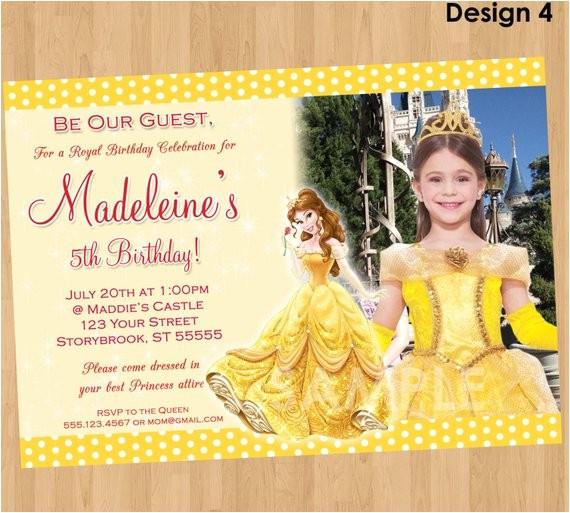 Princess Belle Party Invitations Princess Belle Invitation Beauty and the Beast Invitation