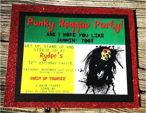 Rasta Party Invitations Bob Marley Invitations Bob Marley Birthday Party by