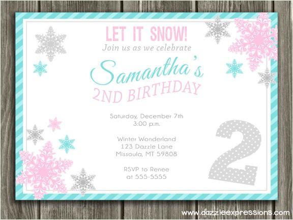 Snowflake Birthday Party Invitations Birthday Invites Great 10 Snowflake Birthday Invitations