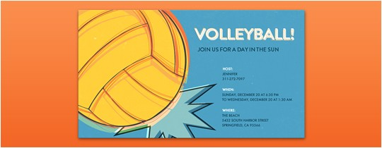 Volleyball Party Invitation Template Sports Leagues Free Online Invitations