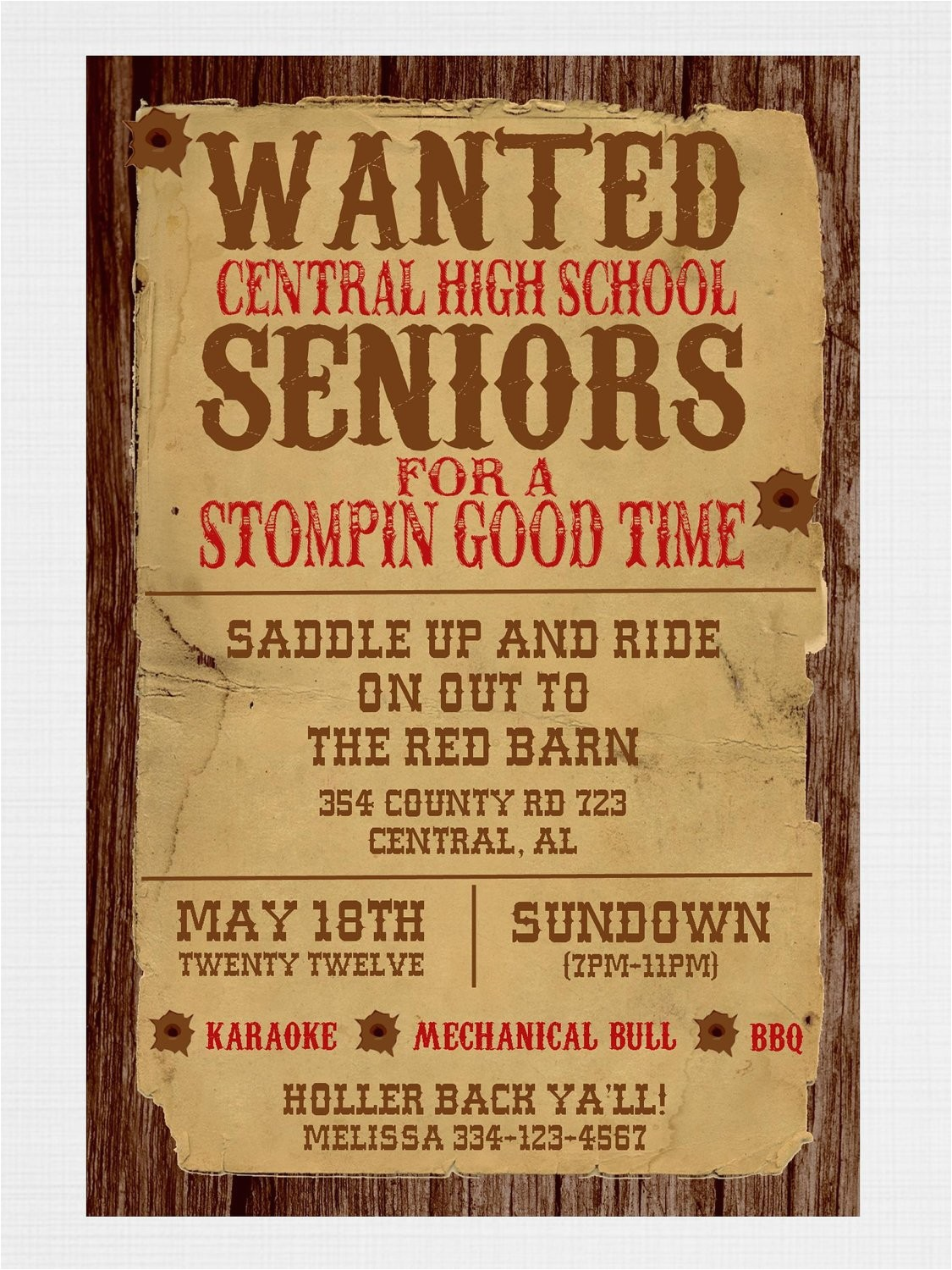 Western Party Invitation Wording Wanted Poster Western Party Invitation by Graysgraphicdesigns