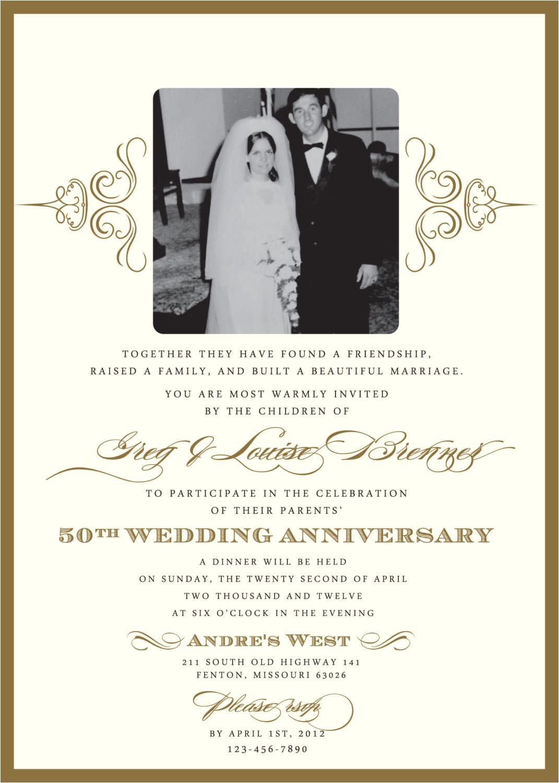 Anniversary Party Invitation Template Golden 50th Anniversary Party Invitation