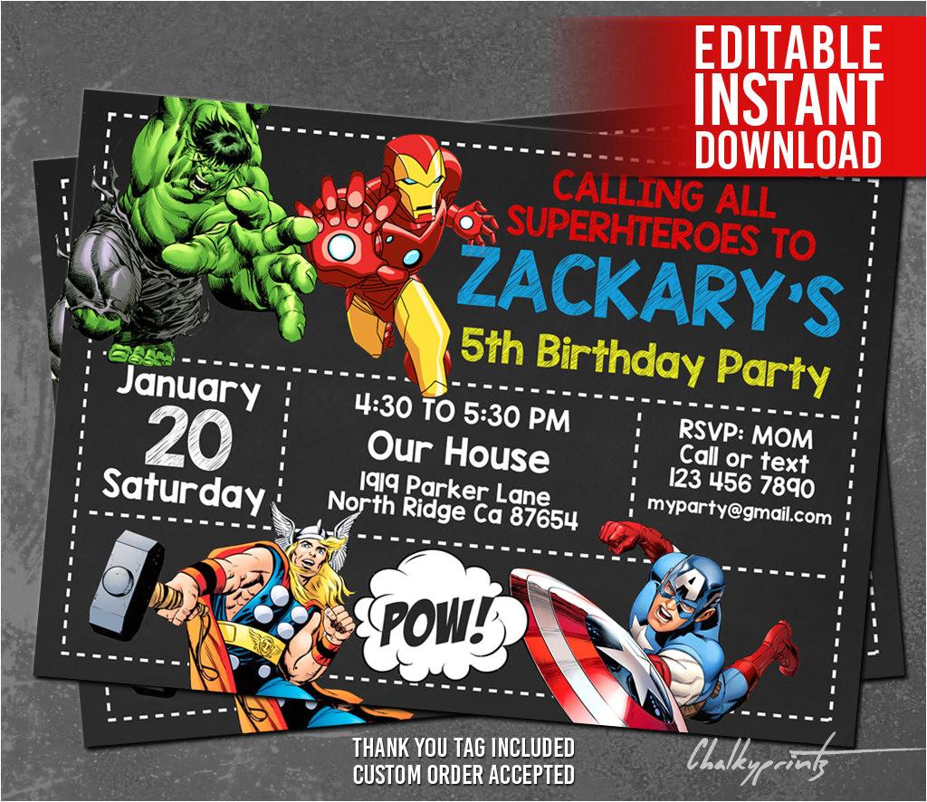 Avengers Party Invitation Template Avengers Invitation Instant Download Avengers Invitations