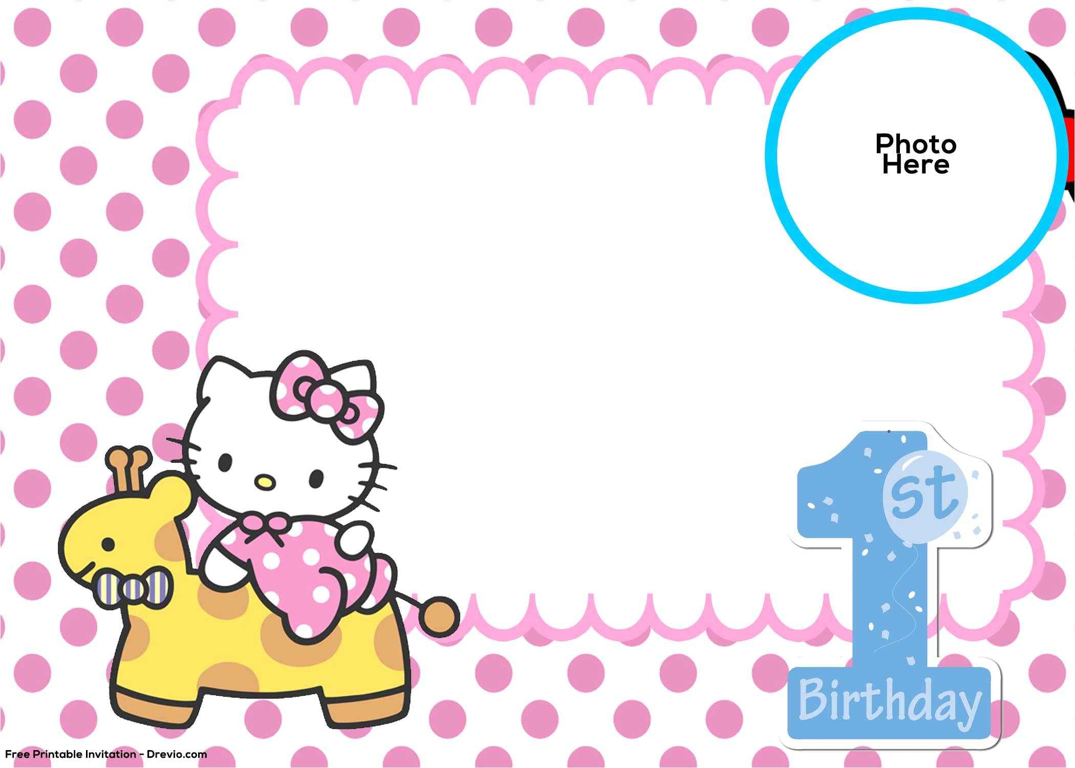 Birthday Invitation Template Hello Kitty Free Hello Kitty 1st Birthday Invitation Template Free
