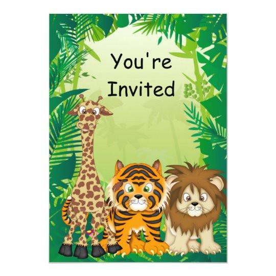 Birthday Invitation Template Jungle theme Jungle theme Birthday Invitations Zazzle Com