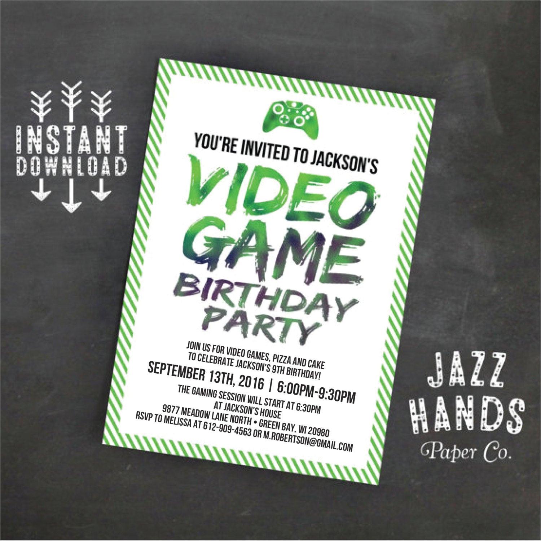 Birthday Invitation Template Video Printable Video Game Birthday Invitation Template Diy