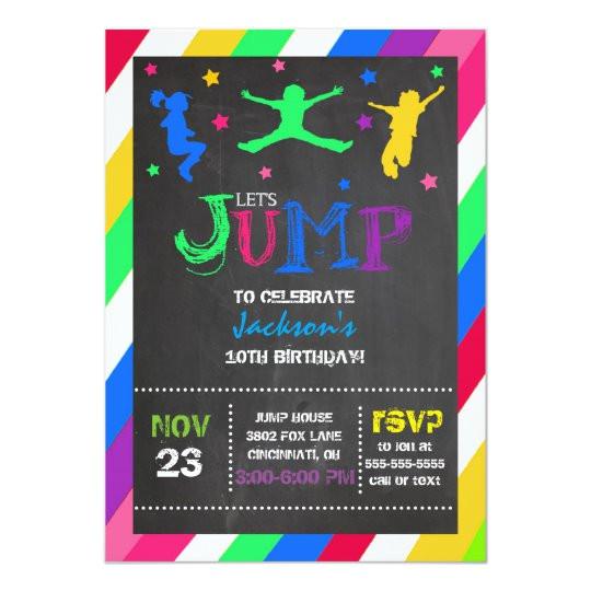 Birthday Party Invitation Template Trampoline Jump Bounce House Trampoline Birthday Invitation Zazzle Com