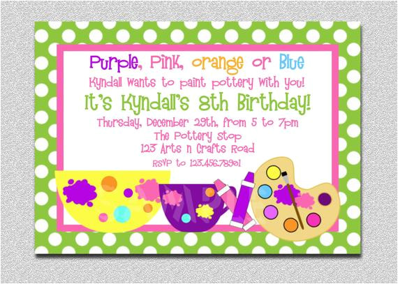 Craft Party Invitation Template Arts and Crafts Birthday Party Invitation Art Birthday
