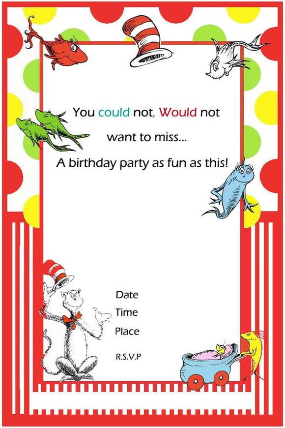 Dr Seuss Birthday Invitation Template Free Printable Dr Seuss First Birthday Invitations Free