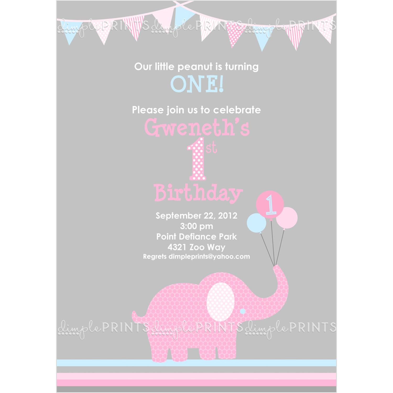 Elephant Birthday Invitation Template Little Elephant Printable Invite Dimple Prints Shop