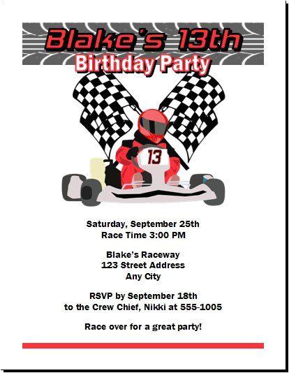 Go Kart Birthday Invitation Template Go Kart Racer Birthday Party Invitation Set Of 12 In 2019