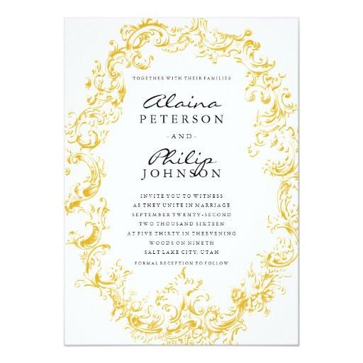 Gold Wedding Invitation Template Elegant Gold Frame Wedding Invitation Template Zazzle