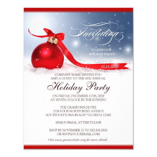Holiday Party Invitation Template Corporate Holiday Party Invitation Template Zazzle Com